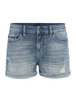 Mid wash denim cut off short