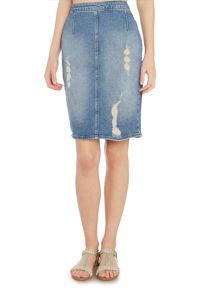 Calvin Klein Ripped denim pencil skirt