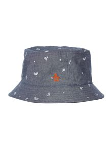 Original Penguin Reversible racket print and plain bucket hat