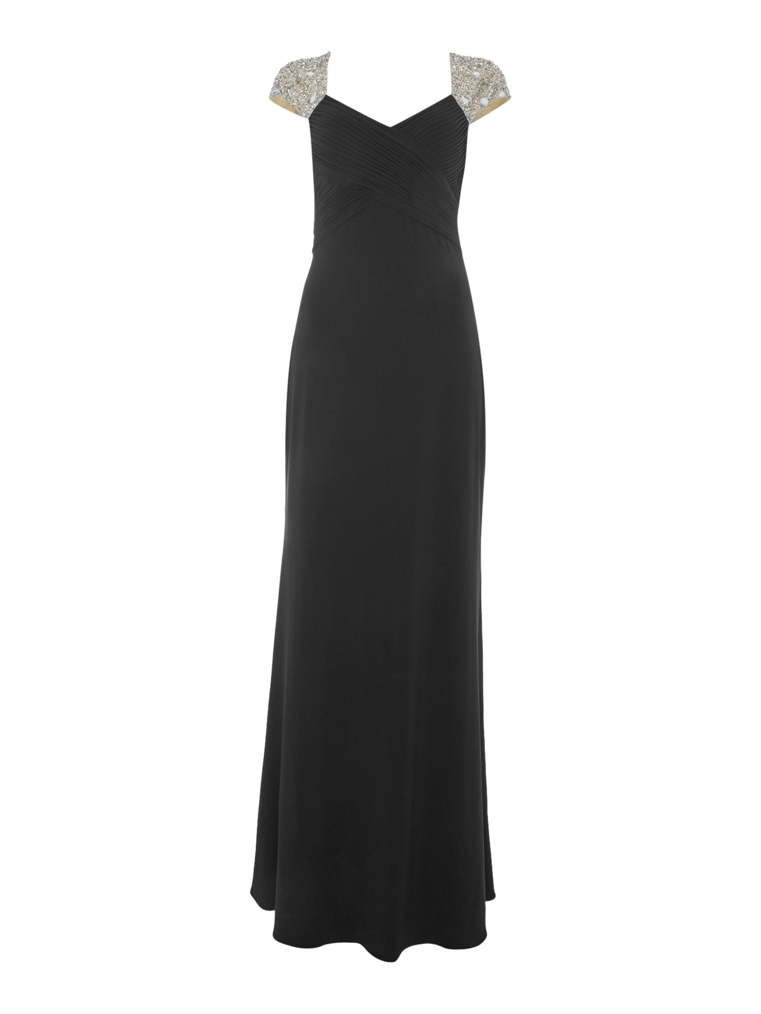 Js Collections JS Collections Jersey V neck gown with beaded cap sleeves, Black