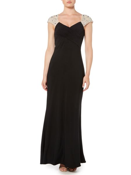 JS Collections Jersey V neck gown with beaded cap sleeves