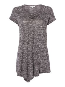 Gray & Willow Alva short sleeve assymetric top