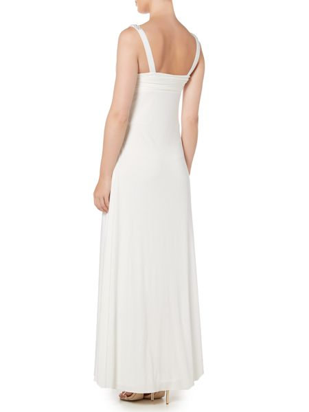 JS Collections Rouched bust with beaded straps dress