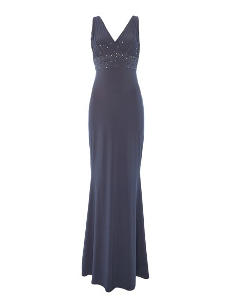 JS Collections V neck gown jersey gown with beaded waist