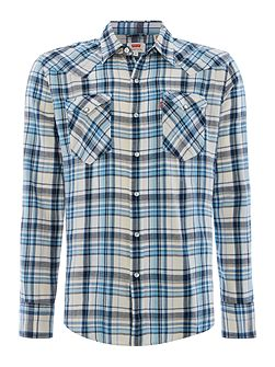Slim fit barstow western check long sleeve shirt