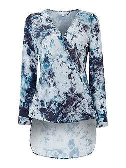 Kivi print hi low cross over blouse