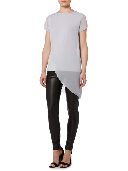 Gray & Willow Alina asymmetric woven layer top