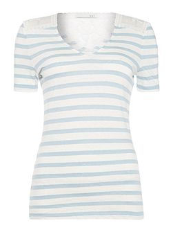 Stripe tee with lace insert