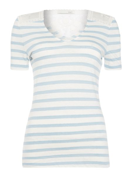 Oui Stripe tee with lace insert