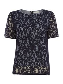 Oui Lace Overlay Top