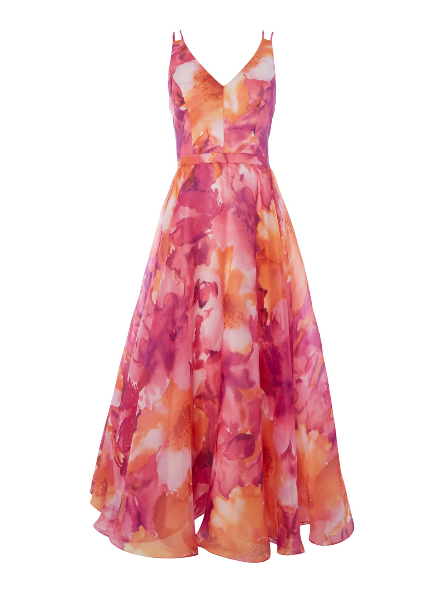 JS Collections Floral Organza midi, Pink