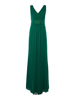 V neck gown with panel beaded waist
