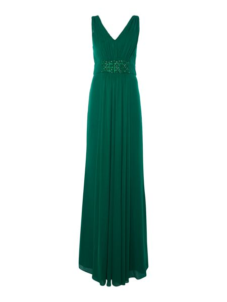 JS Collections V neck gown with panel beaded waist