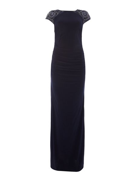 JS Collections Illusion shoulder with beaded rouch dress