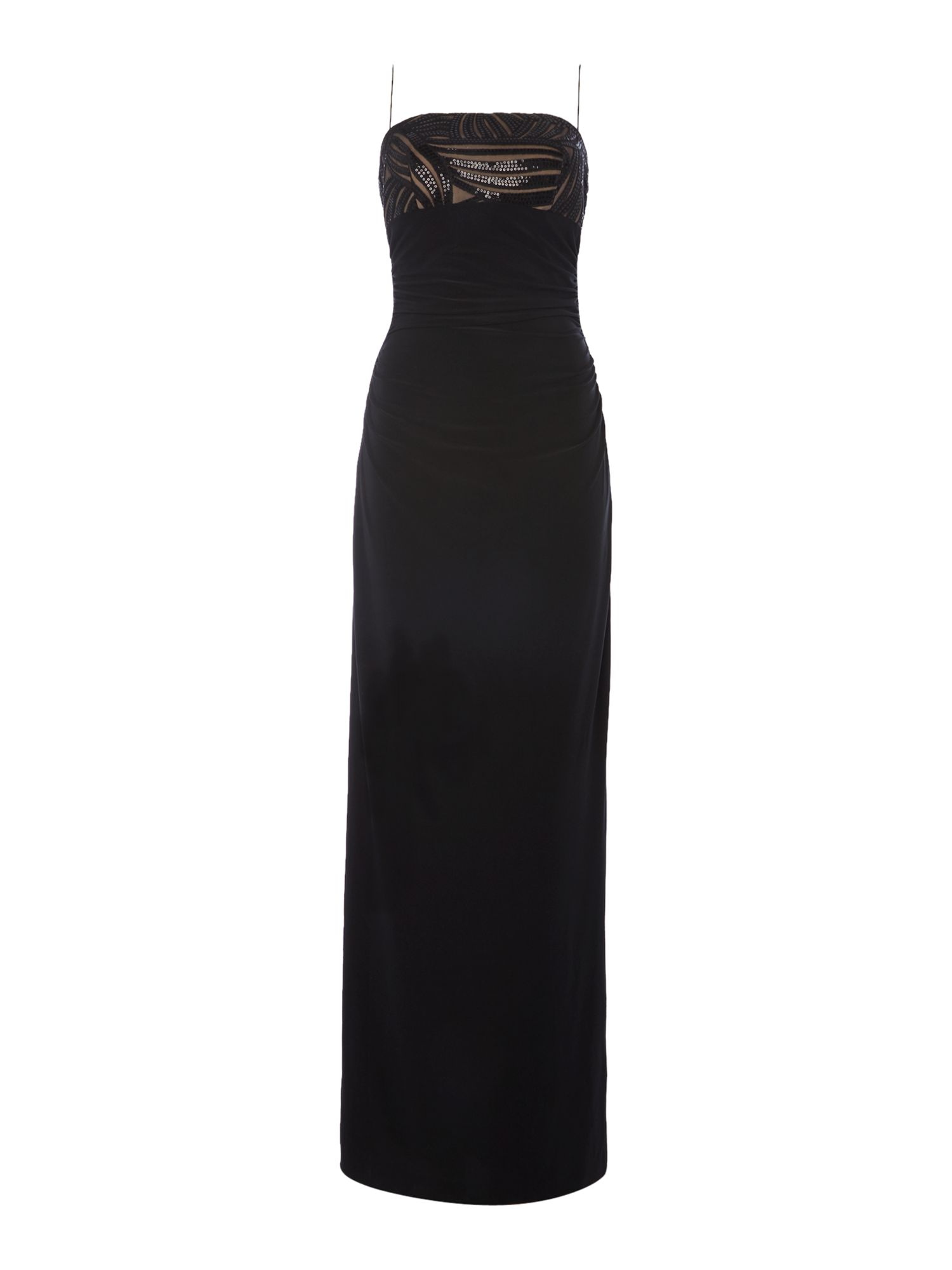 JS Collections Strapless lace top dress, Black