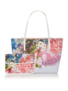 Ted Baker Floriya large blue floral tote bag