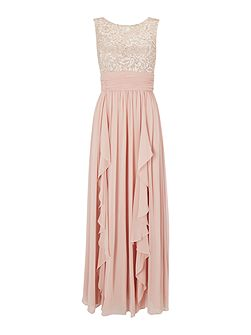 Illusion chiffon gown with lace top