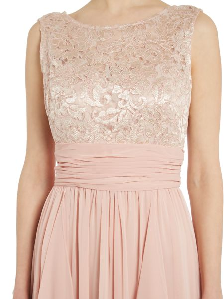 Eliza J Illusion chiffon gown with lace top