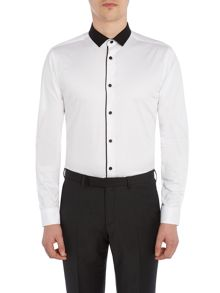 Label Lab Parker Contrast collar shirt trimmed edge placket