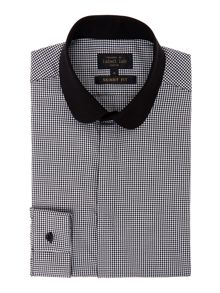 Label Lab Davies micro penny collar dogtooth shirt
