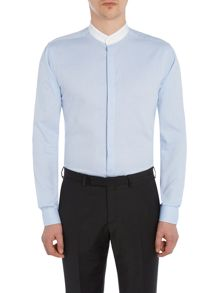 Label Lab Hathaway Texture shirt with grandad collar