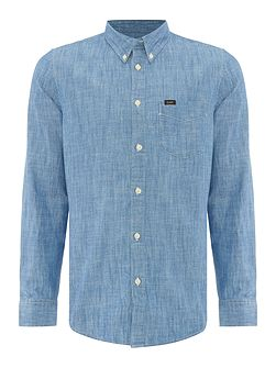 Regular fit light blue denim long sleeve shirt