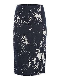 Fitted Floral Linen Skirt with Slit