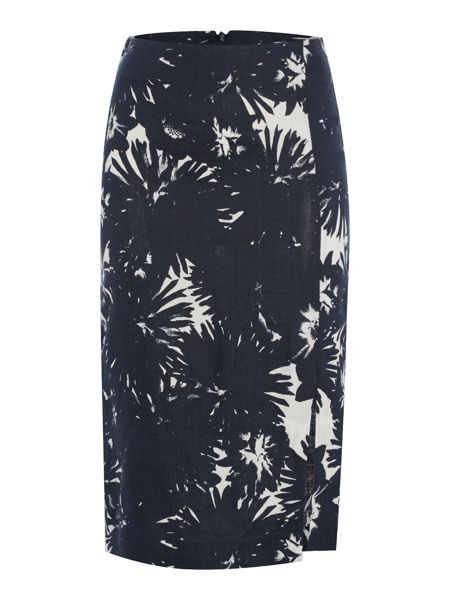 Oui Fitted Floral Linen Skirt with Slit