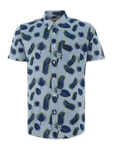 Lee Regular fit allover leaf print short sleeve shirt