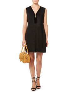 Biba Zip detail faux suede dress