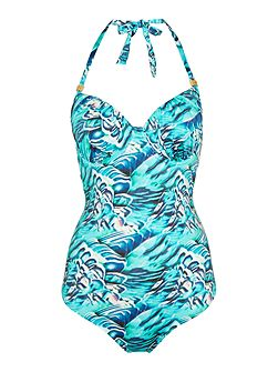 Parkakeet Print Plunge Underwired Swimsuit