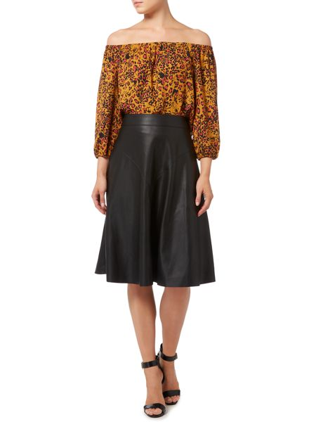 Biba Faux leather fit and flare skirt