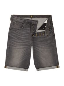 Lee Slim fit grey worn denim turn up shorts