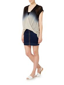Label Lab Dip dye button back woven top