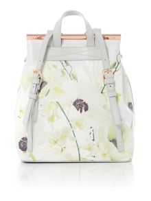Ted Baker T-bar light grey floral backpack