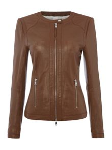 Oui Collarless Perforated Leather Jacket