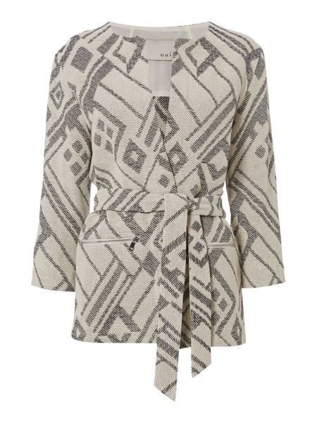 Oui Collarless Patterned Belted Coat