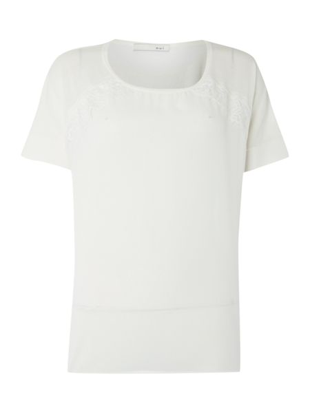 Oui Short Sleeve Jumper with Lace Detail
