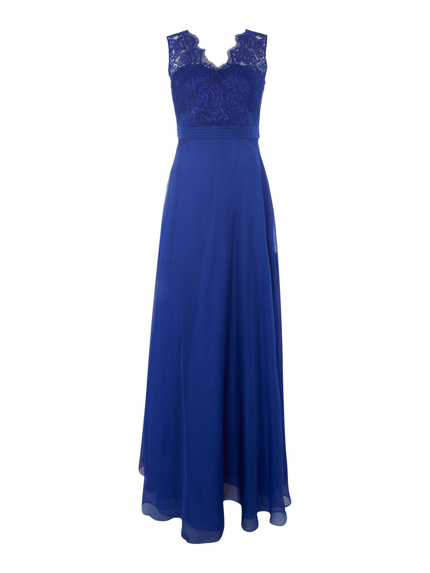 Js Collections JS Collections Lace top dress with chiffon skirt, Royal
