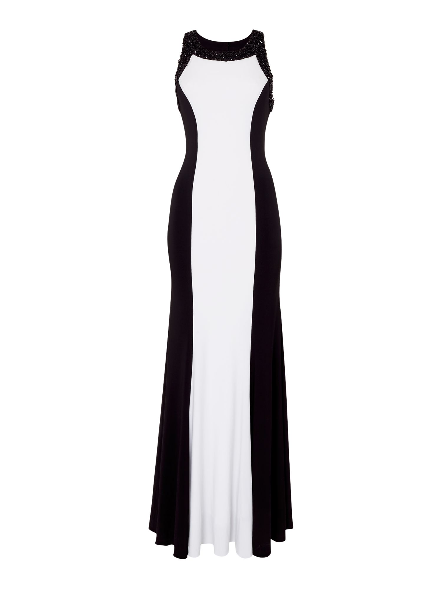 JS Collections Halter Neck Beaded Gown, Black/White