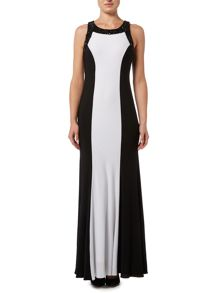 JS Collections Halter neck beaded gown