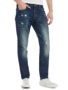 Lee Arvin crushed blue regular fit jeans