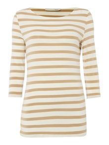 Oui Stripe T-Shirt with 3/4 Sleeves