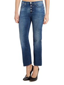 7 For All Mankind Cropped bootcut raw hem jean in left hand dark