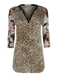 Oui Animal Print Tunic with Floral Sleeves