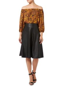 Biba Leopard printed off the shoulder blouse