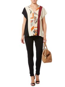 Biba Colour blocked v neck blouse
