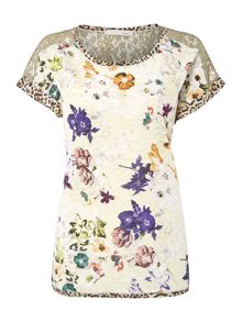 Oui Floral T-Shirt with Animal Print Trim