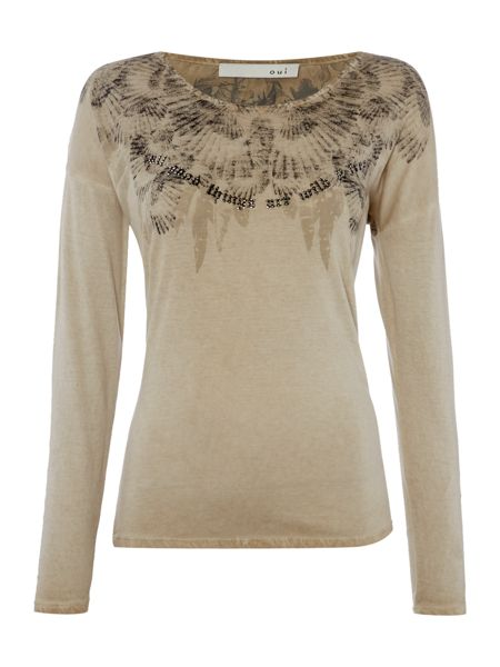 Oui Printed T-Shirt with Diamante Detail