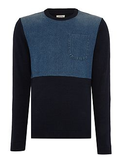 Knitted Jumper With Denim Detail